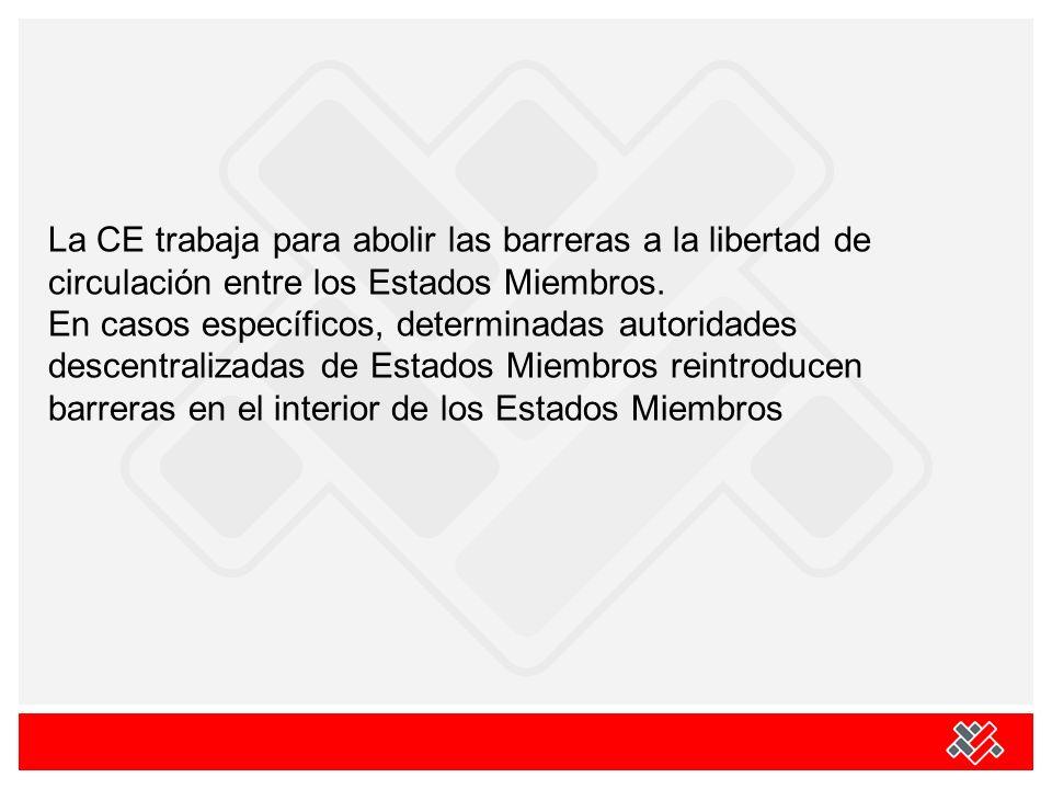 La CE trabaja para abolir las barreras a la libertad de circulación entre los Estados Miembros. En casos específicos, determinadas autoridades descent