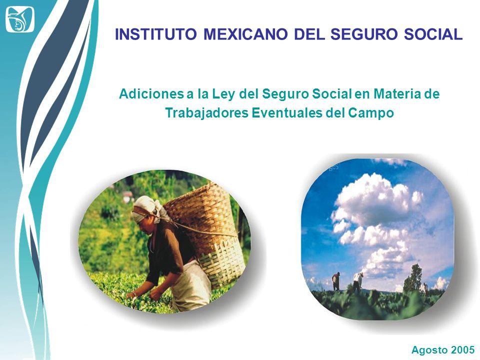 Adiciones a la Ley del Seguro Social en Materia de Trabajadores Eventuales del Campo INSTITUTO MEXICANO DEL SEGURO SOCIAL Agosto 2005