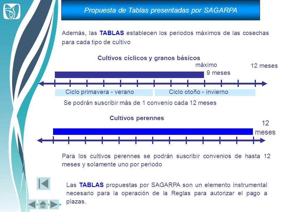 Además, las TABLAS establecen los periodos máximos de las cosechas para cada tipo de cultivo Cultivos cíclicos y granos básicos máximo 9 meses 12 mese