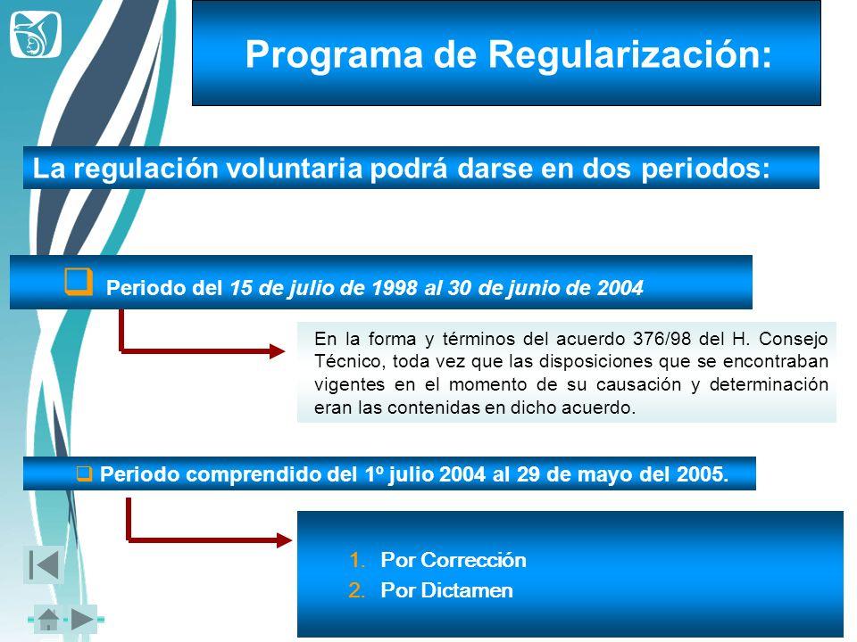 La regulación voluntaria podrá darse en dos periodos: Periodo del 15 de julio de 1998 al 30 de junio de 2004 En la forma y términos del acuerdo 376/98