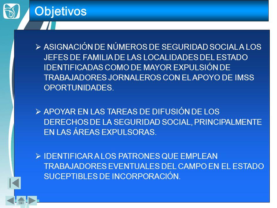 ASIGNACIÓN DE NÚMEROS DE SEGURIDAD SOCIAL A LOS JEFES DE FAMILIA DE LAS LOCALIDADES DEL ESTADO IDENTIFICADAS COMO DE MAYOR EXPULSIÓN DE TRABAJADORES J
