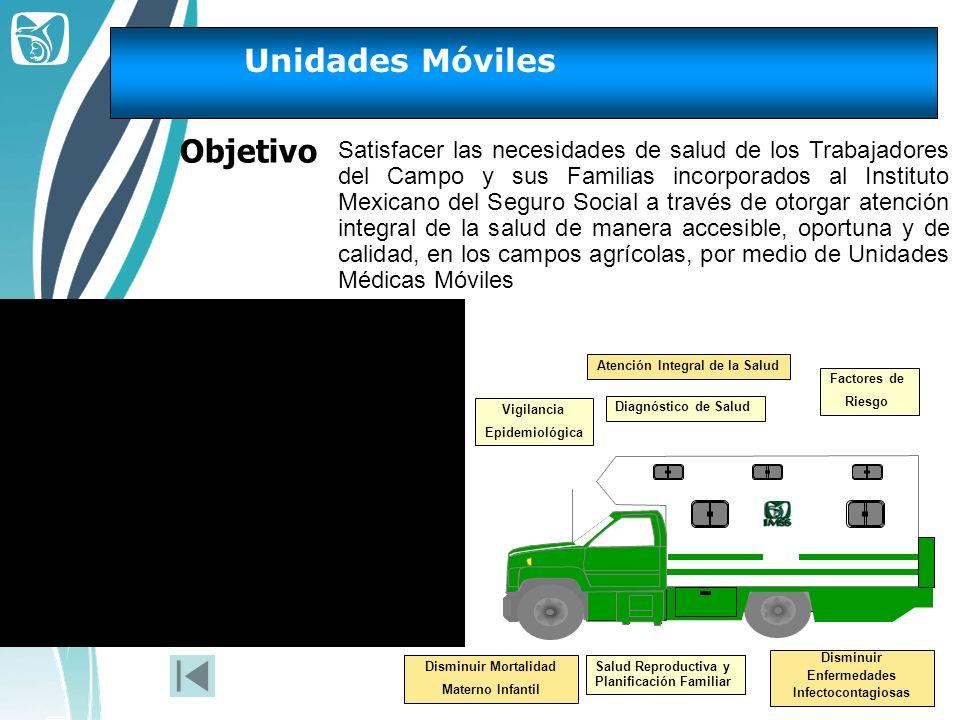 Unidades Móviles Objetivo Satisfacer las necesidades de salud de los Trabajadores del Campo y sus Familias incorporados al Instituto Mexicano del Segu