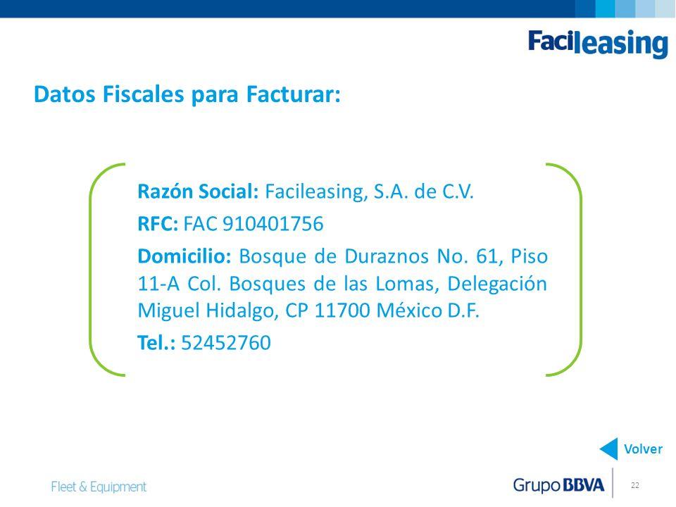 22 Razón Social: Facileasing, S.A. de C.V. RFC: FAC 910401756 Domicilio: Bosque de Duraznos No. 61, Piso 11-A Col. Bosques de las Lomas, Delegación Mi