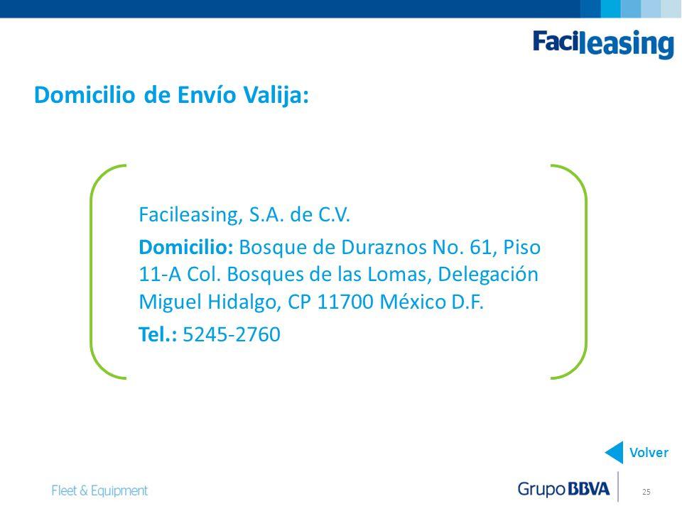 25 Facileasing, S.A. de C.V. Domicilio: Bosque de Duraznos No. 61, Piso 11-A Col. Bosques de las Lomas, Delegación Miguel Hidalgo, CP 11700 México D.F