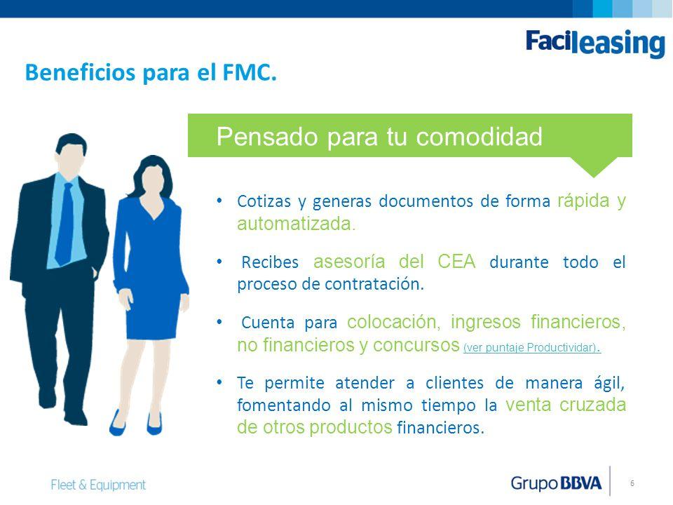 6 Beneficios para el FMC. Cotizas y generas documentos de forma rápida y automatizada. Recibes asesoría del CEA durante todo el proceso de contratació
