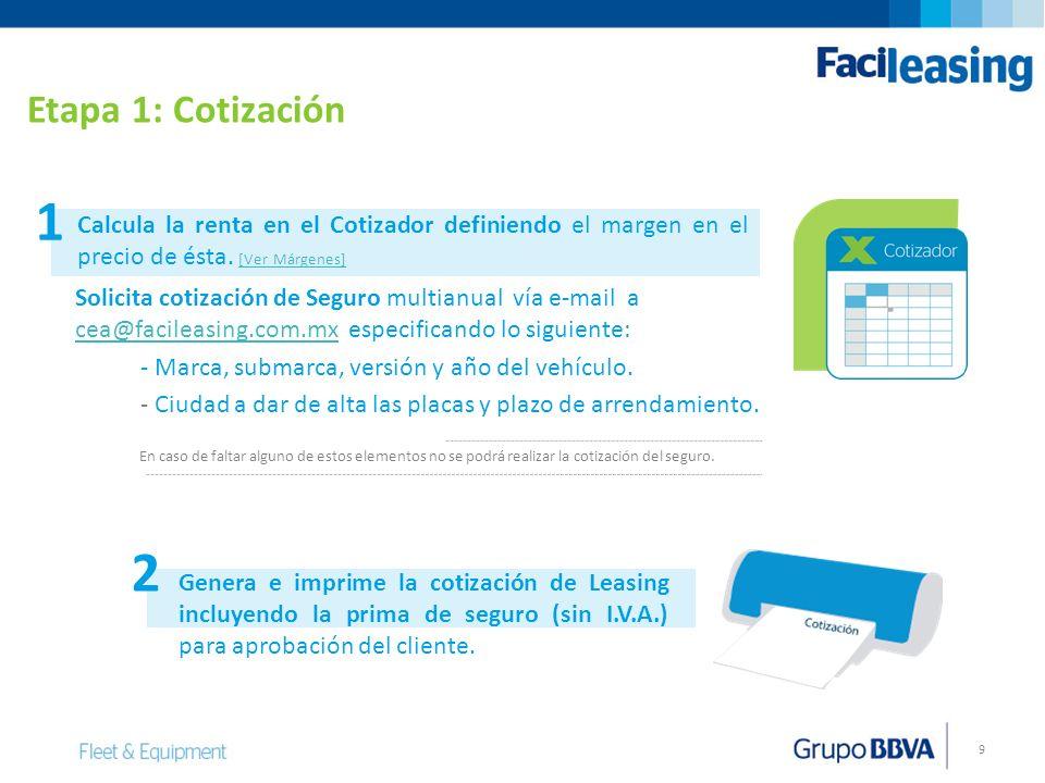 9 Solicita cotización de Seguro multianual vía e-mail a cea@facileasing.com.mx especificando lo siguiente: cea@facileasing.com.mx - Marca, submarca, v