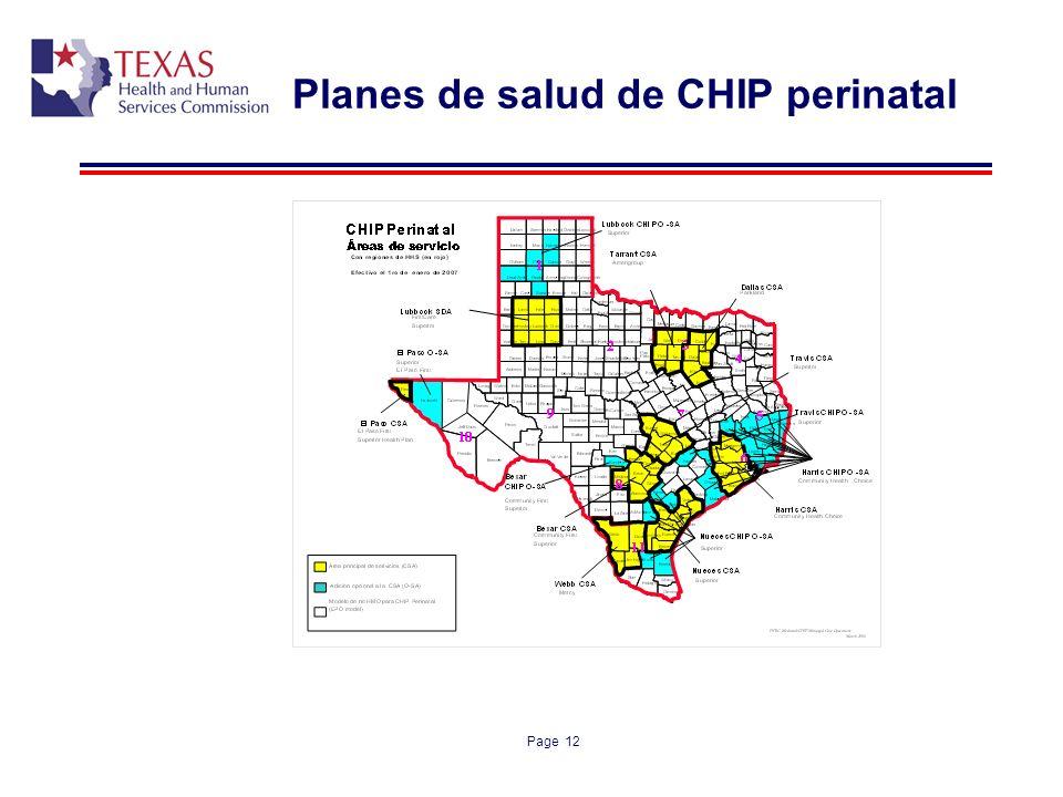 Page 12 Planes de salud de CHIP perinatal