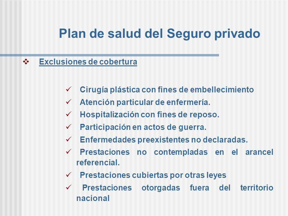Plan de salud del Seguro privado Exclusiones de cobertura Cirugía plástica con fines de embellecimiento Atención particular de enfermería. Hospitaliza
