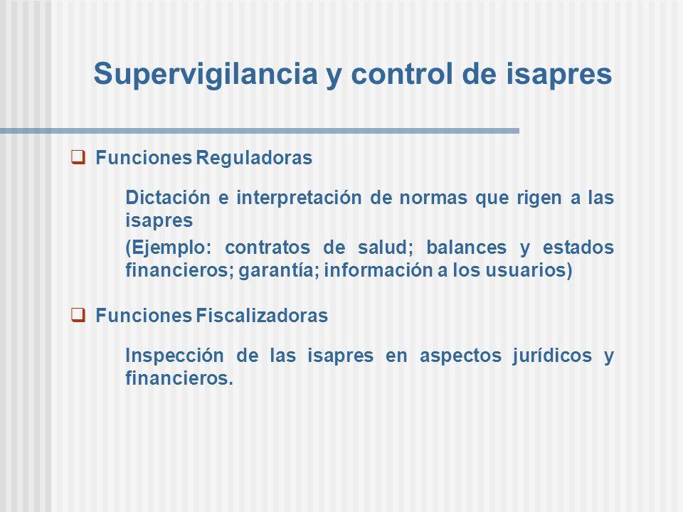Supervigilancia y control de isapres Funciones Reguladoras Dictación e interpretación de normas que rigen a las isapres (Ejemplo: contratos de salud;