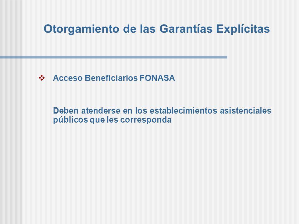 Otorgamiento de las Garantías Explícitas Acceso Beneficiarios FONASA Deben atenderse en los establecimientos asistenciales públicos que les correspond