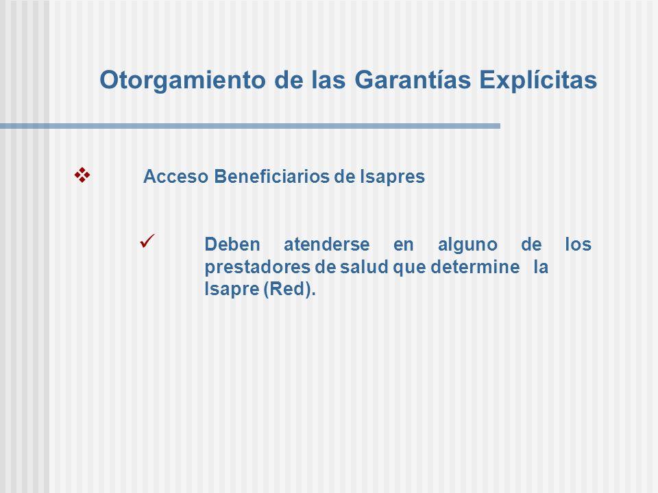 Otorgamiento de las Garantías Explícitas Acceso Beneficiarios de Isapres Deben atenderse en alguno de los prestadores de salud que determine la Isapre