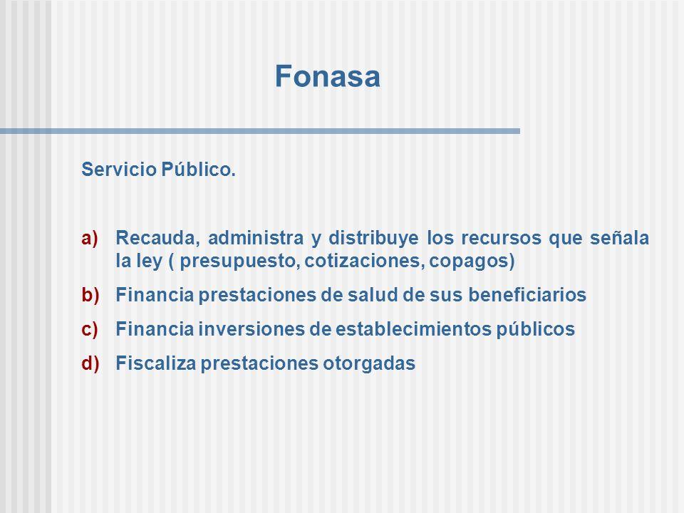 Fonasa Servicio Público. a)Recauda, administra y distribuye los recursos que señala la ley ( presupuesto, cotizaciones, copagos) b)Financia prestacion