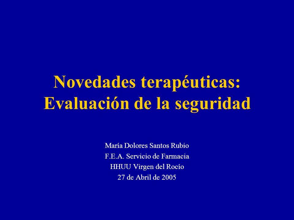 Novedades terapéuticas: Evaluación de la seguridad María Dolores Santos Rubio F.E.A. Servicio de Farmacia HHUU Virgen del Rocío 27 de Abril de 2005