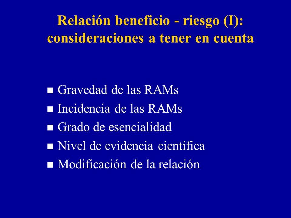 Relación beneficio - riesgo (I): consideraciones a tener en cuenta n Gravedad de las RAMs n Incidencia de las RAMs n Grado de esencialidad n Nivel de evidencia científica n Modificación de la relación