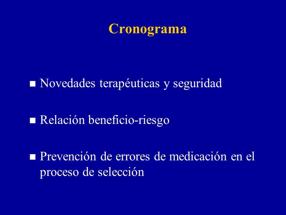 Cronograma n Novedades terapéuticas y seguridad n Relación beneficio-riesgo n Prevención de errores de medicación en el proceso de selección