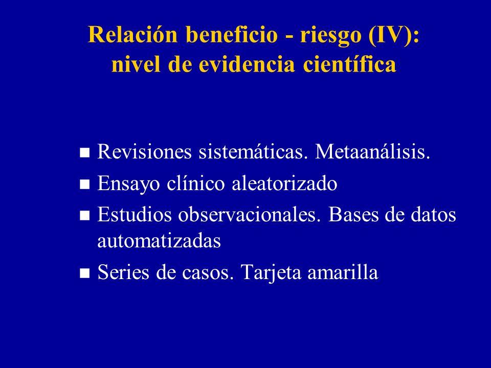 Relación beneficio - riesgo (IV): nivel de evidencia científica n Revisiones sistemáticas. Metaanálisis. n Ensayo clínico aleatorizado n Estudios obse