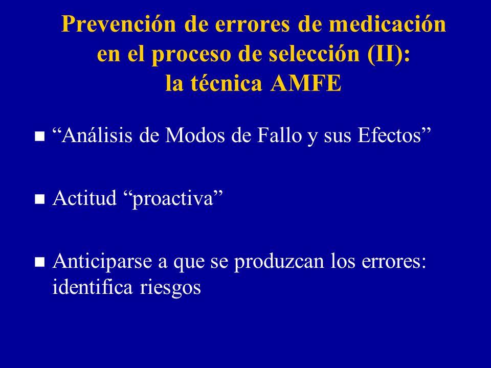 Prevención de errores de medicación en el proceso de selección (II): la técnica AMFE n Análisis de Modos de Fallo y sus Efectos n Actitud proactiva n Anticiparse a que se produzcan los errores: identifica riesgos
