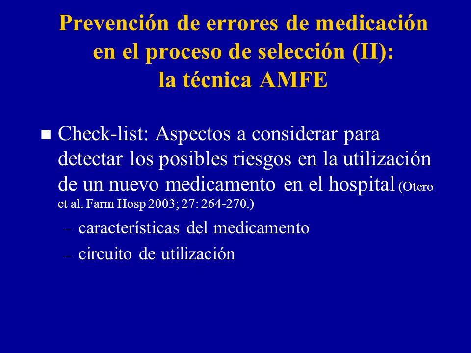 Prevención de errores de medicación en el proceso de selección (II): la técnica AMFE n Check-list: Aspectos a considerar para detectar los posibles riesgos en la utilización de un nuevo medicamento en el hospital (Otero et al.