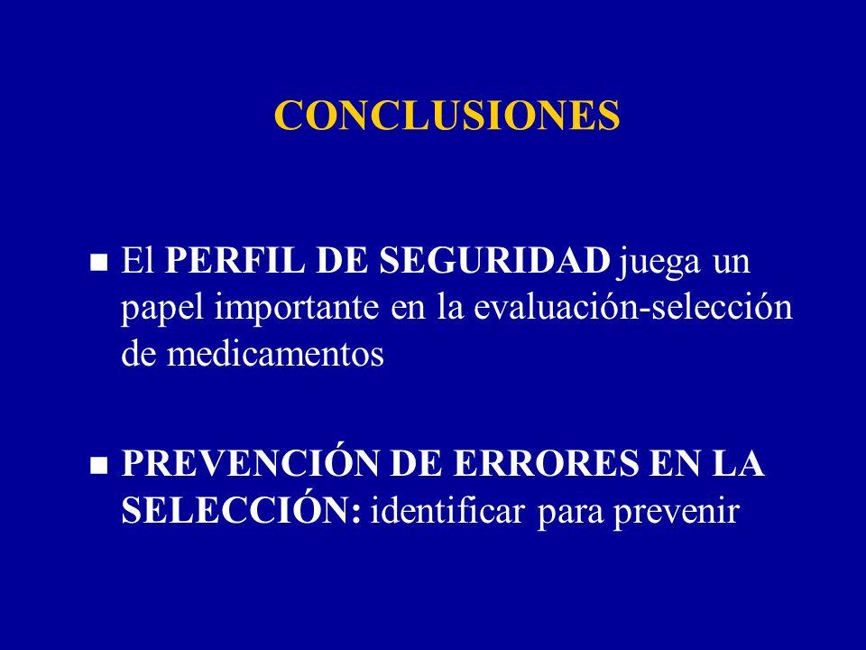 CONCLUSIONES n El PERFIL DE SEGURIDAD juega un papel importante en la evaluación-selección de medicamentos n PREVENCIÓN DE ERRORES EN LA SELECCIÓN: id