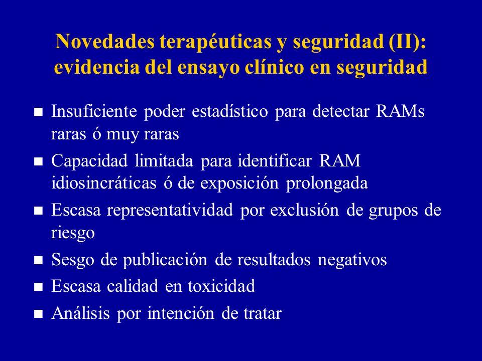 Novedades terapéuticas y seguridad (II): evidencia del ensayo clínico en seguridad n Insuficiente poder estadístico para detectar RAMs raras ó muy rar