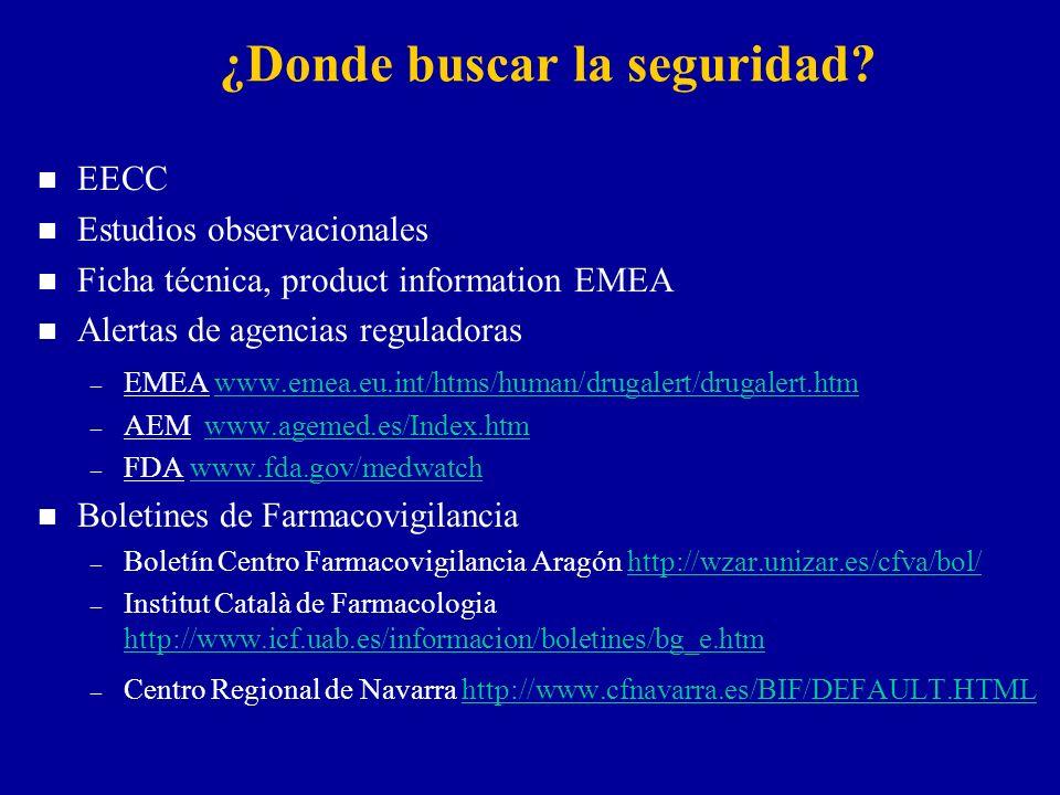 ¿Donde buscar la seguridad? n EECC n Estudios observacionales n Ficha técnica, product information EMEA n Alertas de agencias reguladoras – EMEA www.e