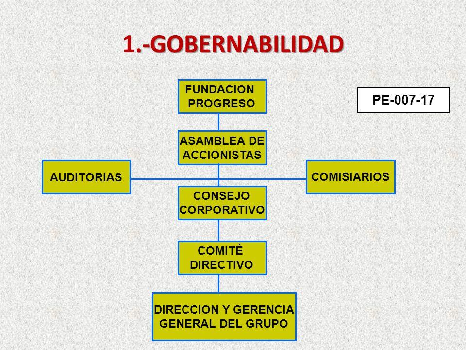 .-GOBERNABILIDAD 1.-GOBERNABILIDAD FUNDACION PROGRESO ASAMBLEA DE ACCIONISTAS AUDITORIAS COMISIARIOS CONSEJO CORPORATIVO COMITÉ DIRECTIVO DIRECCION Y GERENCIA GENERAL DEL GRUPO PE-007-17