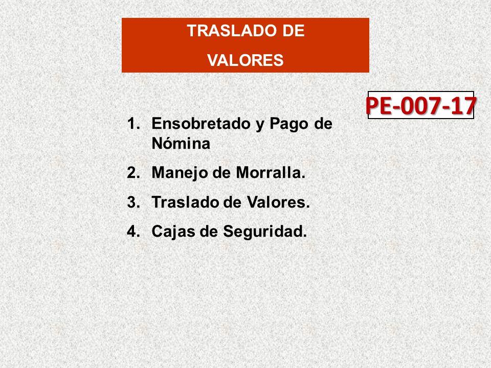 TRASLADO DE VALORES 1.Ensobretado y Pago de Nómina 2.Manejo de Morralla.