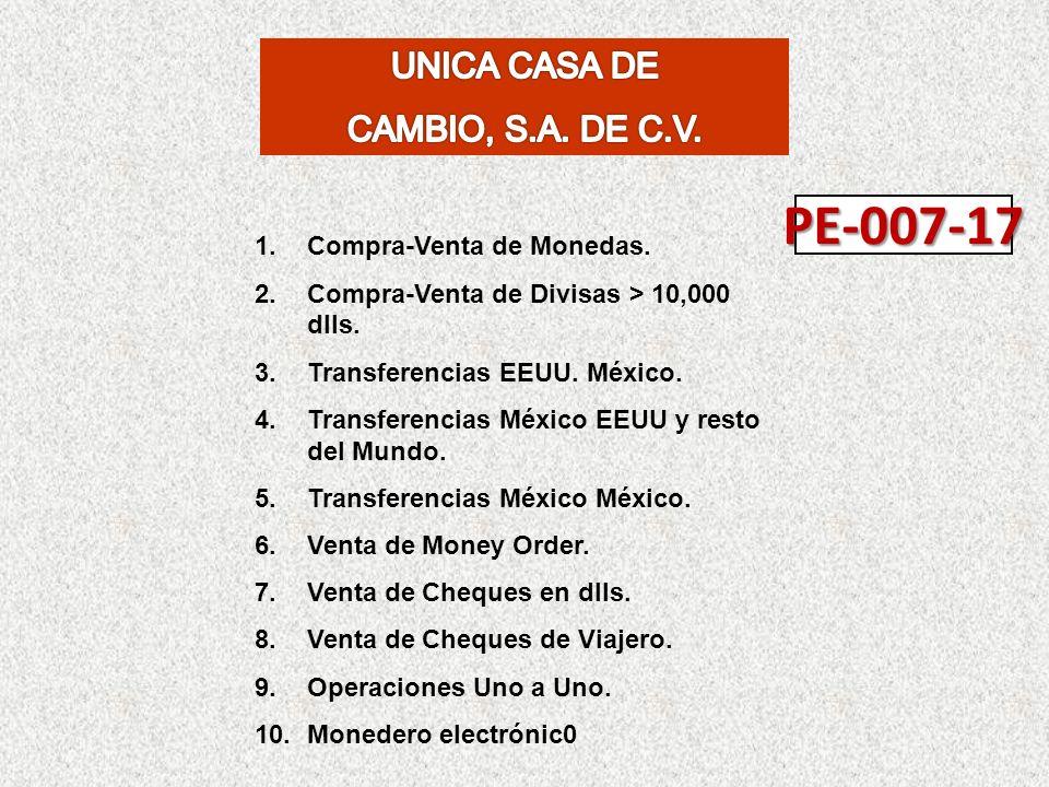 1.Compra-Venta de Monedas. 2.Compra-Venta de Divisas > 10,000 dlls. 3.Transferencias EEUU. México. 4.Transferencias México EEUU y resto del Mundo. 5.T