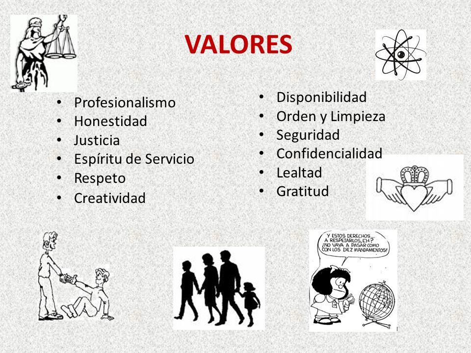 VALORES Profesionalismo Honestidad Justicia Espíritu de Servicio Respeto Creatividad Disponibilidad Orden y Limpieza Seguridad Confidencialidad Lealtad Gratitud