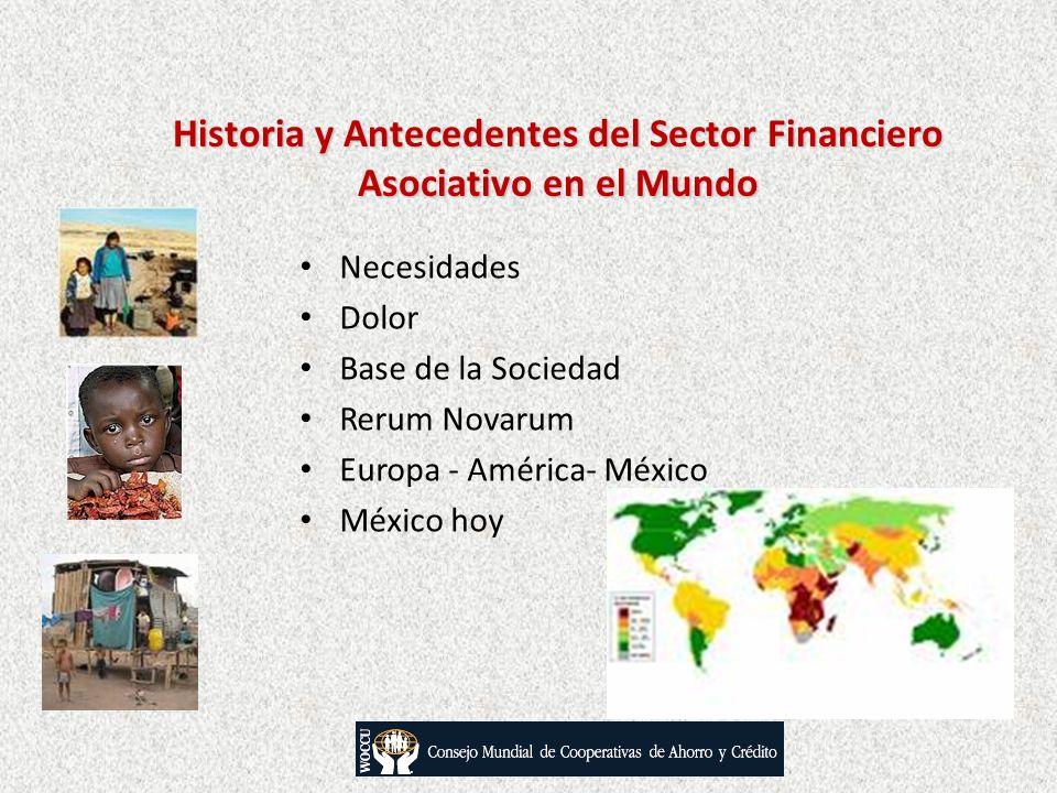 Historia y Antecedentes del Sector Financiero Asociativo en el Mundo Necesidades Dolor Base de la Sociedad Rerum Novarum Europa - América- México Méxi