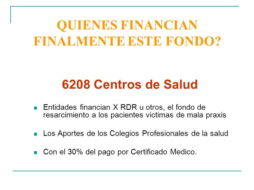 QUIENES FINANCIAN FINALMENTE ESTE FONDO? Entidades financian X RDR u otros, el fondo de resarcimiento a los pacientes victimas de mala praxis Los Apor