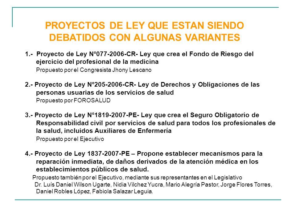 PROYECTOS DE LEY QUE ESTAN SIENDO DEBATIDOS CON ALGUNAS VARIANTES 1.- Proyecto de Ley N°077-2006-CR- Ley que crea el Fondo de Riesgo del ejercicio del