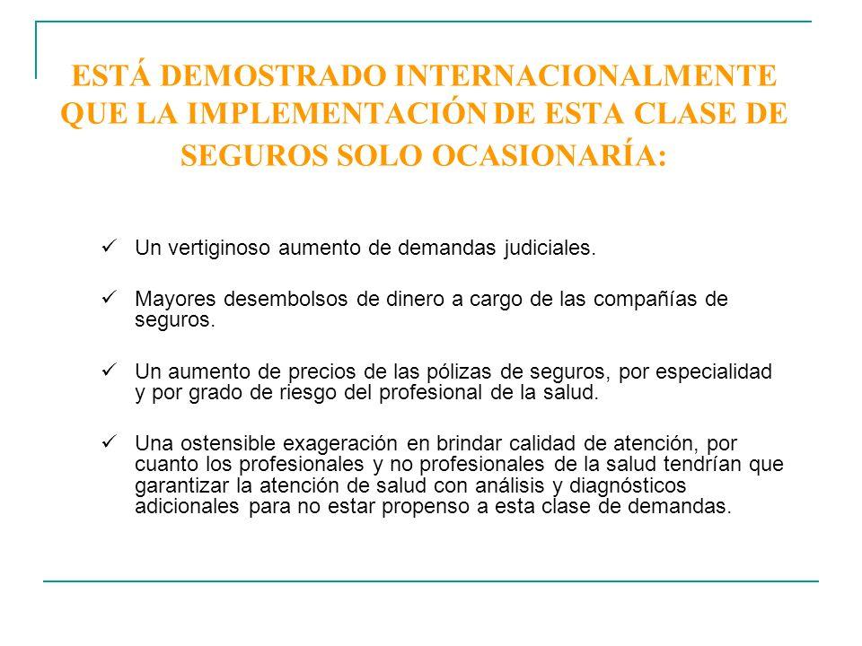 ESTÁ DEMOSTRADO INTERNACIONALMENTE QUE LA IMPLEMENTACIÓN DE ESTA CLASE DE SEGUROS SOLO OCASIONARÍA: Un vertiginoso aumento de demandas judiciales. May
