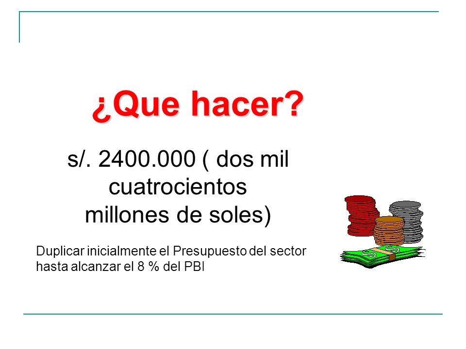¿Que hacer? s/. 2400.000 ( dos mil cuatrocientos millones de soles) Duplicar inicialmente el Presupuesto del sector hasta alcanzar el 8 % del PBI