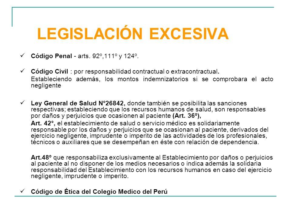 LEGISLACIÓN EXCESIVA Código Penal - arts. 92º,111º y 124º. Código Civil : por responsabilidad contractual o extracontractual. Estableciendo además, lo