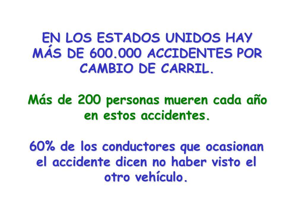 EN LOS ESTADOS UNIDOS HAY MÁS DE 600.000 ACCIDENTES POR CAMBIO DE CARRIL. Más de 200 personas mueren cada año en estos accidentes. 60% de los conducto