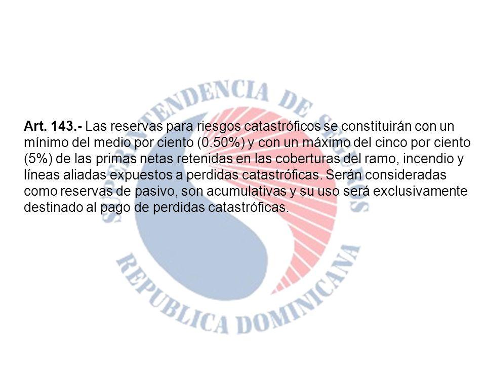 Art. 143.- Las reservas para riesgos catastróficos se constituirán con un mínimo del medio por ciento (0.50%) y con un máximo del cinco por ciento (5%