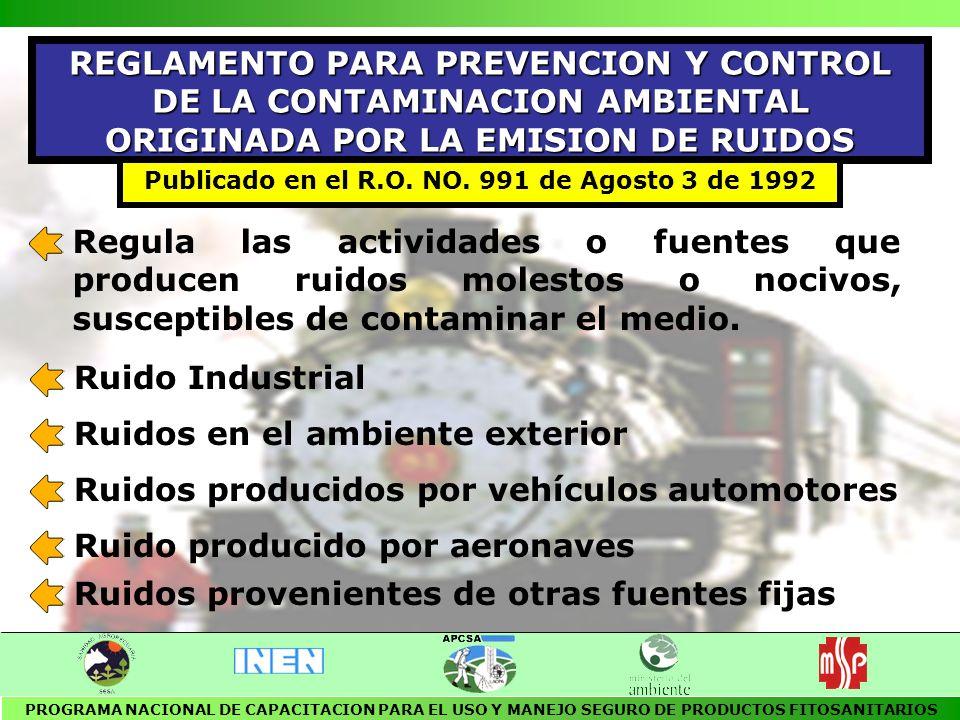 LEY PARA LA FORMULACION, FABRICACION Y COMERCIALIZACION DE PLAGUICIDAS Y PRODUCTOS AFINES DE USO AGRICOLA ARTICULO 12 Se negará el registro de un plaguicida o producto afín en el caso que fuere nocivo para la salud de los consumidores, de los productos que vayan a generarse y/o produzcan contaminación ambiental Publicado en el R.O.