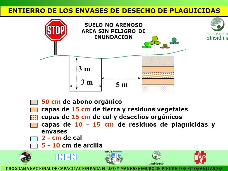 NORMAS DE SEGURIDAD: El área de eliminación de envases debe ser restringida y bien señalada Para entrar a esta área se debe utilizar el equipo de protección personal para fumigación.