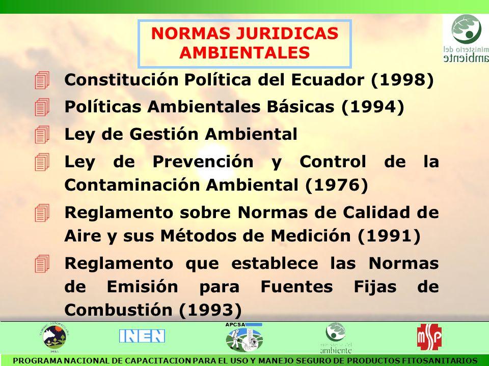 4 Reglamento para la Prevención y Control de la Contaminación Ambiental relativo al Recurso Agua (1989) 4 Reglamento para la Prevención y Control de la Contaminación Ambiental relativo al Recurso Suelo (1992) 4 Reglamento para el Manejo de Desechos Sólidos (1992) 4 Reglamento para la Prevención y Control de la Contaminación Ambiental originada por la emisión de ruidos (1990) NORMAS JURIDICAS AMBIENTALES PROGRAMA NACIONAL DE CAPACITACION PARA EL USO Y MANEJO SEGURO DE PRODUCTOS FITOSANITARIOS