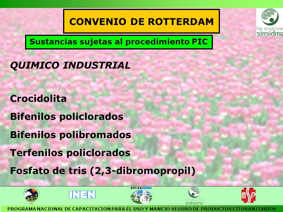 Contaminantes Orgánicos Persistentes COPs OBJETIVO Establecer regulaciones para producción, manejo y uso o prohibir la fabricación y comercialización de las siguientes sustancias: AldrinBifenilos policlorados ClordanoDioxinas DDTFuranos Dieldrin Endrin Heptacloro Hexaclorobenzeno Mirex Toxafeno PROGRAMA NACIONAL DE CAPACITACION PARA EL USO Y MANEJO SEGURO DE PRODUCTOS FITOSANITARIOS