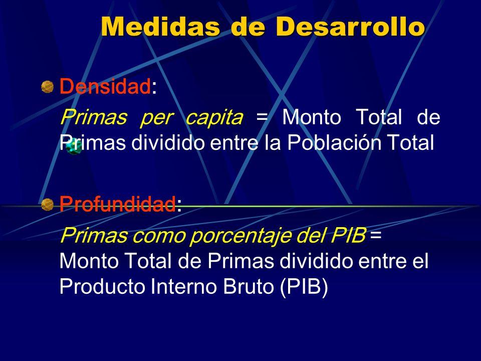 Medidas de Desarrollo Densidad: Primas per capita = Monto Total de Primas dividido entre la Población Total Profundidad: Primas como porcentaje del PIB = Monto Total de Primas dividido entre el Producto Interno Bruto (PIB)