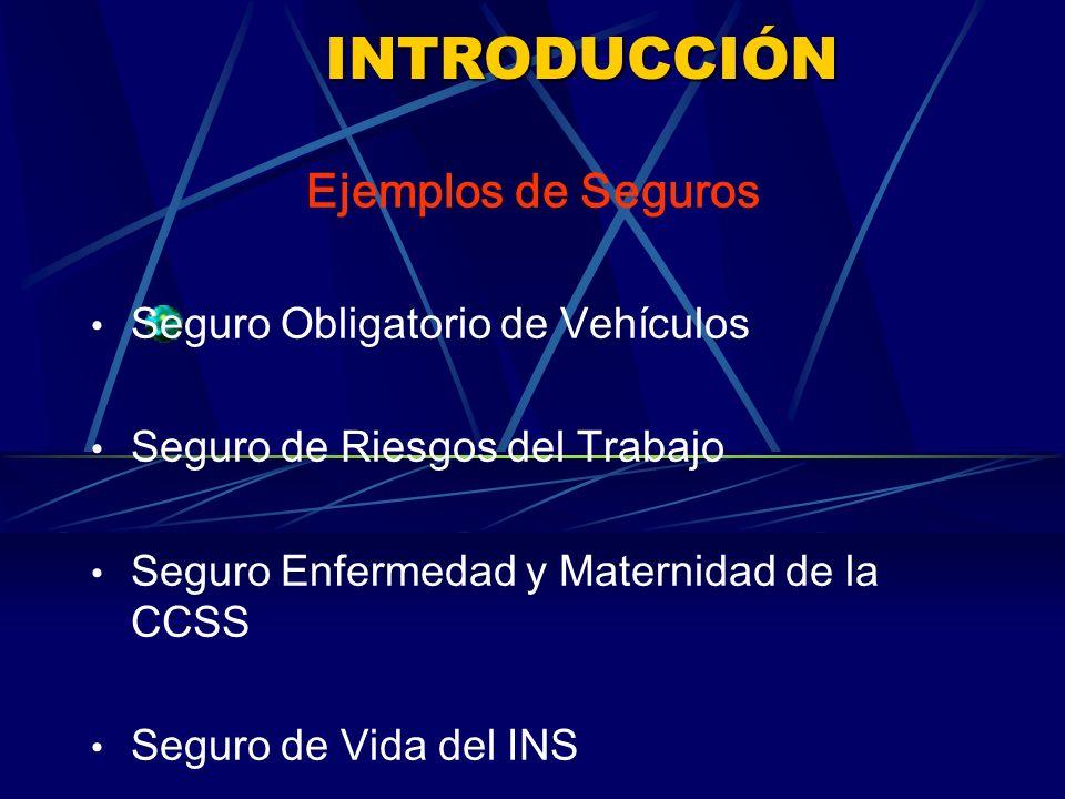 INTRODUCCIÓN Ejemplos de Seguros Seguro Obligatorio de Vehículos Seguro de Riesgos del Trabajo Seguro Enfermedad y Maternidad de la CCSS Seguro de Vida del INS