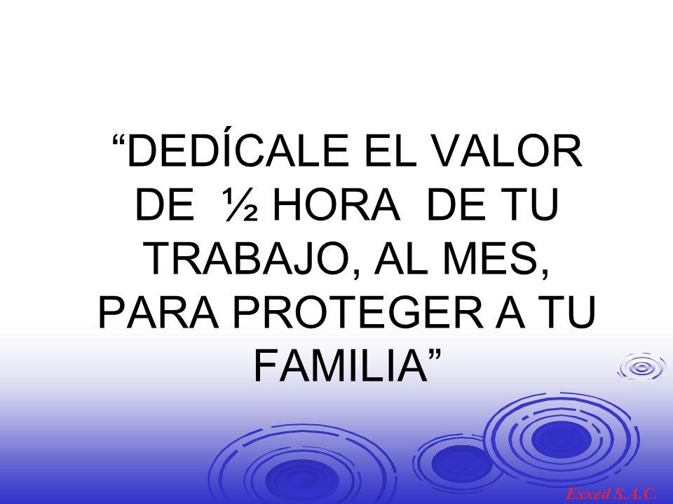 DEDÍCALE EL VALOR DE ½ HORA DE TU TRABAJO, AL MES, PARA PROTEGER A TU FAMILIA Exxed S.A.C.