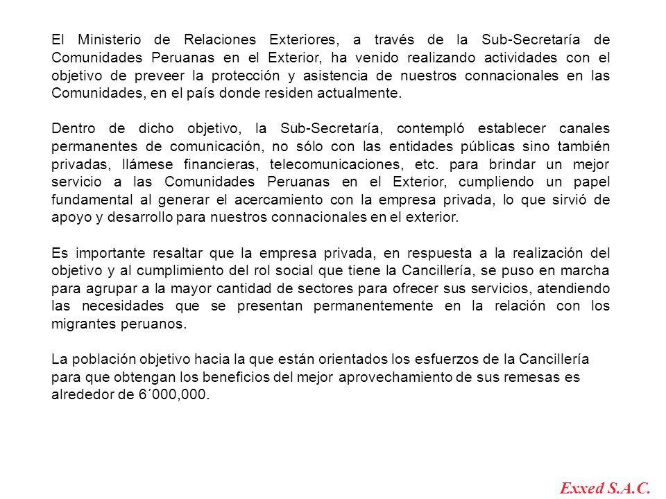 El Ministerio de Relaciones Exteriores, a través de la Sub-Secretaría de Comunidades Peruanas en el Exterior, ha venido realizando actividades con el