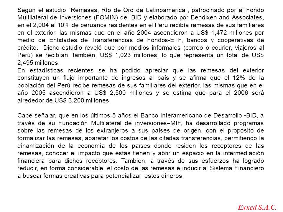 Según el estudio Remesas, Río de Oro de Latinoamérica, patrocinado por el Fondo Multilateral de Inversiones (FOMIN) del BID y elaborado por Bendixen and Associates, en el 2,004 el 10% de peruanos residentes en el Perú recibía remesas de sus familiares en el exterior, las mismas que en el año 2004 ascendieron a US$ 1,472 millones por medio de Entidades de Transferencias de Fondos-ETF, bancos y cooperativas de crédito.