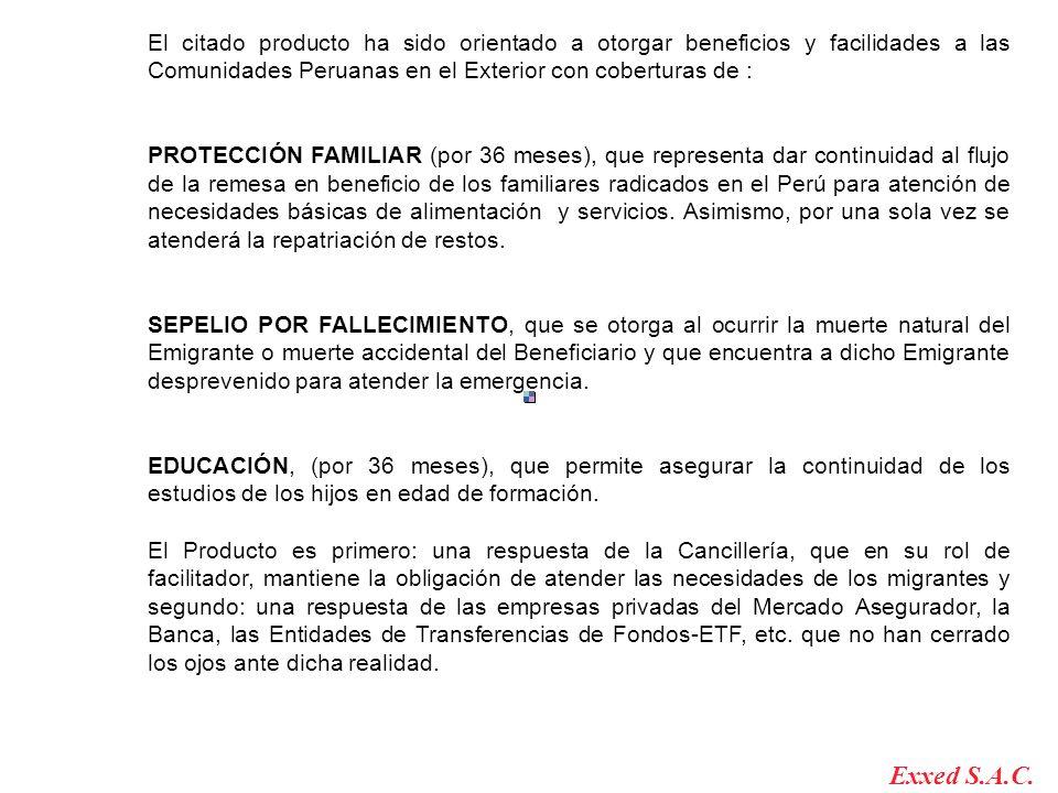 El citado producto ha sido orientado a otorgar beneficios y facilidades a las Comunidades Peruanas en el Exterior con coberturas de : PROTECCIÓN FAMIL