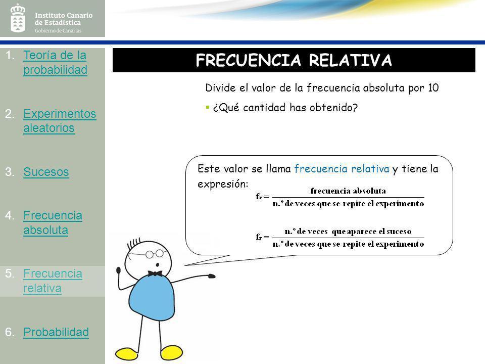 Divide el valor de la frecuencia absoluta por 10 ¿Qué cantidad has obtenido? Este valor se llama frecuencia relativa y tiene la expresión: 1.Teoría de