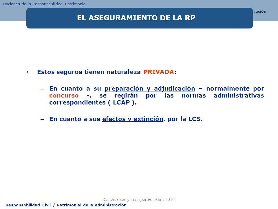 Responsabilidad Civil / Patrimonial de la Administración Estos seguros tienen naturaleza PRIVADA: – En cuanto a su preparación y adjudicación – normal