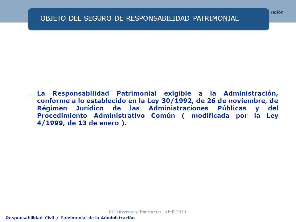Responsabilidad Civil / Patrimonial de la Administración OBJETO DEL SEGURO DE RESPONSABILIDAD PATRIMONIAL – La Responsabilidad Patrimonial exigible a
